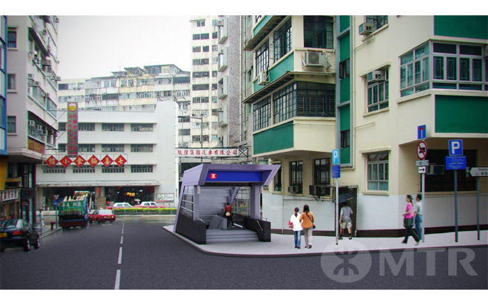 One entrance for Ma Tau Wai Station will be at Kiang Su Street